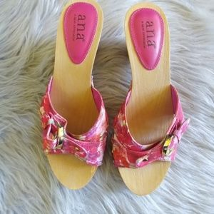 A.n.a Pink Floral Block Buckle Peep Toe Sandals 8M